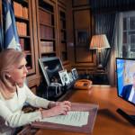 Η Μαριάννα Β. Βαρδινογιάννη παρακολουθεί την ομιλία του ΓΓ Ηνωμένων Εθνών