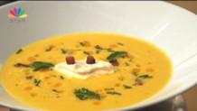Γλυκιά σούπα κρέμα κολοκύθας με τραγανή λούντζα