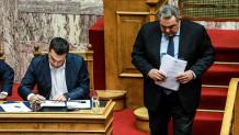 Αλέξης Τσίπρας και Πάνος Καμμένος στο Κοινοβούλιο