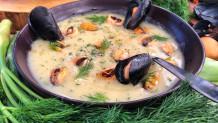 βελουτέ σούπα πατάτας με μύδια