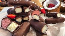 σνακ σοκολάτας με καρύδα και φράουλα