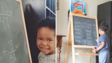 3χρονος λύνει ασκήσεις μαθηματικών