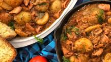 Συνταγή Για Καλαμάρια Με Πατάτες Γιαχνί