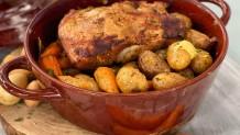 χοιρινό μπούτι με πατάτες