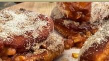 ντόνατς με σάλτσα ροδάκινου