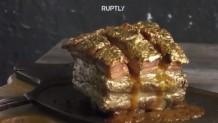 κρέας συνοδευόμενο με 20 φύλλα χρυσού 24 καρατίων