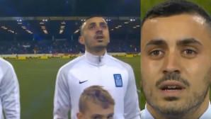 O Μανώλης Σάλιακας δακρύζει στον εθνικό ύμνο