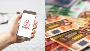Κινητό με εφαρμογή και Airbnb και χρήματα