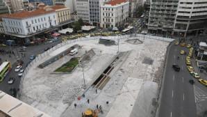 Εργασίες ανάπλασης στην πλατεία Ομόνοιας
