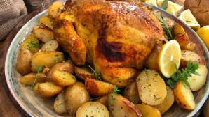 κοτόπουλο με θυμάρι και πατάτες