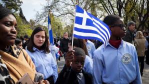 μαθητές με καταγωγή από άλλα κράτη στη μαθητική παρέλαση