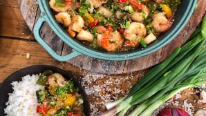 γλυκόξινες γαρίδες με ρύζι και λαχανικά