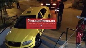 Το ταξί που έπεσε στα σκαλιά