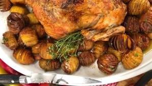 ψητό κοτόπουλο με πατάτες ακορντεόν