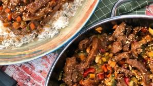 γλυκόξινο μοσχάρι με λαχανικά και ρύζι