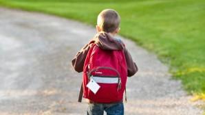 Μαθητής με σχολική τσάντα