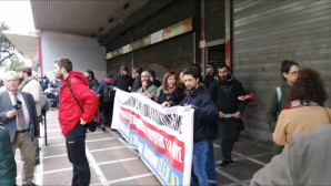 Η διαμαρτυρία των εργαζομένων στο Θέαμα και το Ακρόαμα
