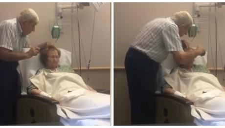 Συγκλονιστικό video: Ηλικιωμένος χτενίζει τα μαλλιά της άρρωστης γυναίκας του