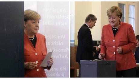 Στα κόκκινα πήγε ντυμένη η Άνγκελα Μέρκελ για να ψηφίσει