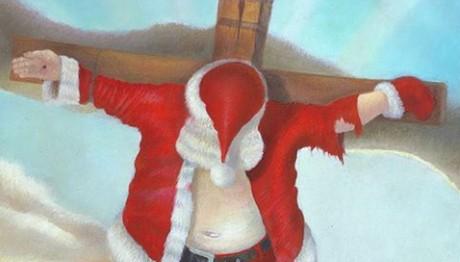 Κρεμασμένος... Άγιος Βασίλης έξω από ναό στις ΗΠΑ