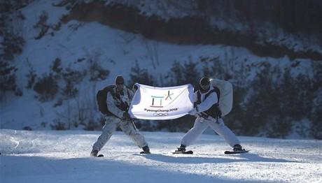 Νότια και Βόρεια Κορέα με μια σημαία στους Ολυμπιακούς