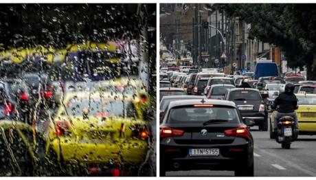 Χάος και μποτιλιάρισμα στους δρόμους έφερε η βροχή