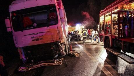 Φωτιά σε νταλίκα στην Ε.Ο. Θεσσαλονίκης - Σερρών