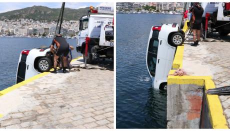Πτώση αυτοκινήτου στο λιμάνι της Καβάλας