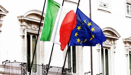 Σημαία Ιταλία και Ευρωπαϊκής Ένωσης