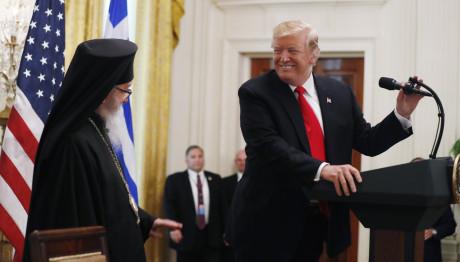 Ο Ντόναλντ Τραμπ με τον αρχιεπίσκοπο Αμερικής Δημήτριο