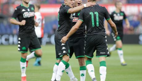 Οι παίκτες του Παναθηναϊκού πανηγυρίζουν στο  θρίαμβο (3-0) με τη Φέγενορντ