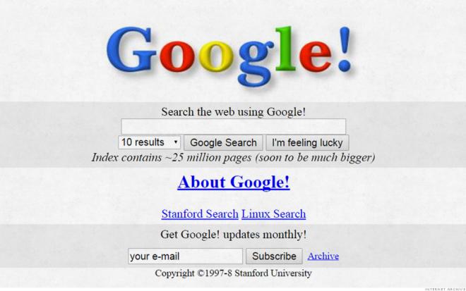 Η πρώτη σελίδα της Google ήταν βασική
