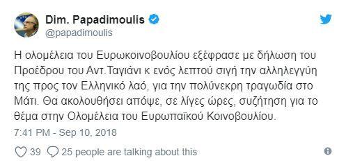 Η δήλωση του Δημήτρη Παπαδημούλη για το Μάτι