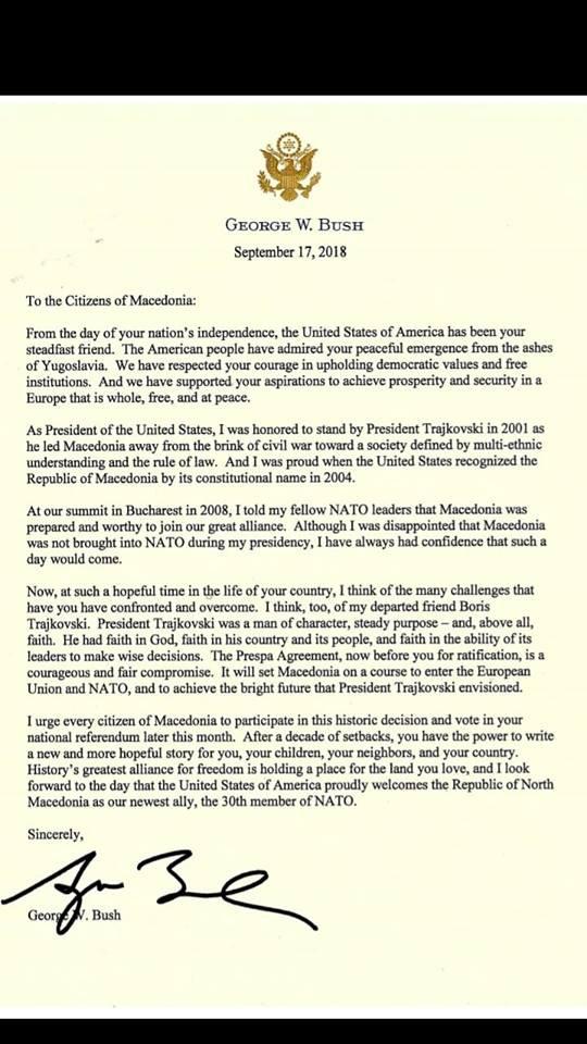 Η επιστολή του Μπους στους Σκοπιανούς για το δημοψήφισμα