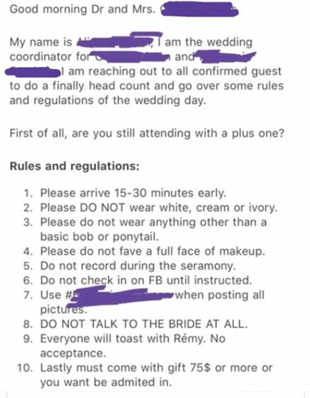 Η λίστα με τους κανόνες της ιδιότροπης νύφης