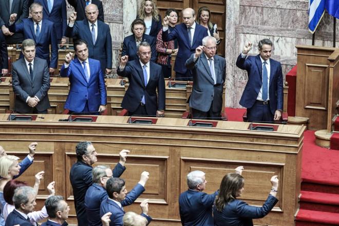 Κυριάκος Μητσοτάκης και υπουργοί στην ορκωμοσία