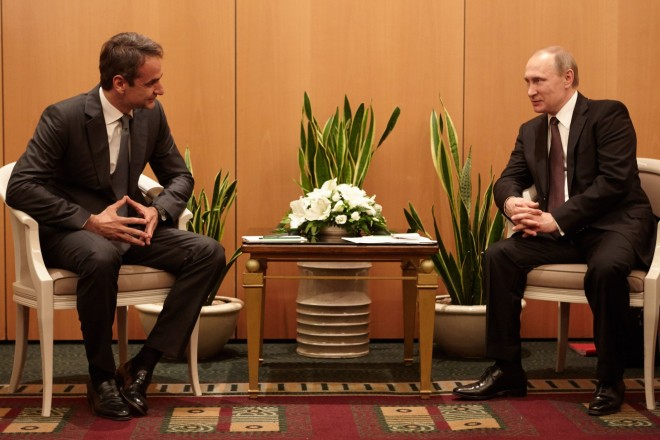 Συνάντηση ΚυριάκουΜητσοτάκηκαι Βλαντιμίρ Πούτιν, κατά την επίσκεψη του Ρώσου προέδρου στην Ελλάδατο 2016