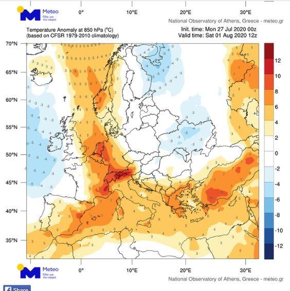 O χάρτης του Meteo με το κύμα καύσωνα που αναμένεται να επηρεάσει την Ελλάδα και την Ευρώπη τις επόμενες μέρες