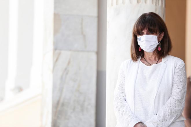 Η Κατερίνα Σακελλαροπούλου στον αγιασμό στο Καστελόριζο