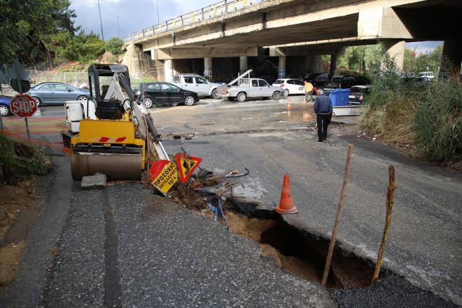 Καταστροφές σε δρόμου στο Ηράκλειο