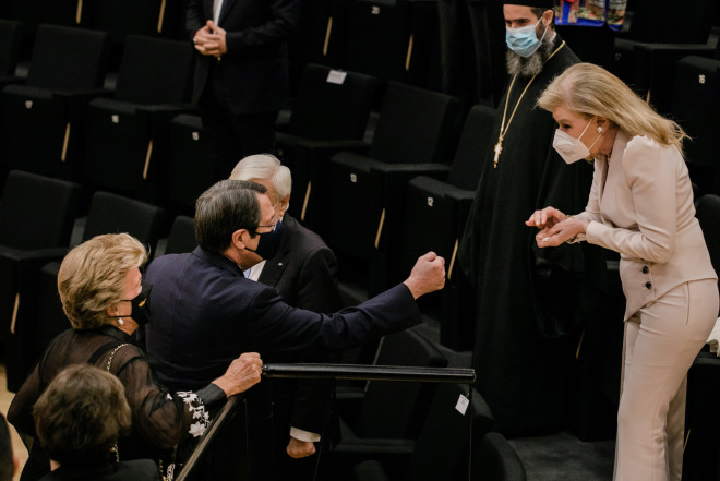 Η Μαριάννα Β. Βαρδινογιάννη με τον Πρόεδρο της Κύπρου και τη σύζυγό του κυρία Άντρη Αναστασιάδη