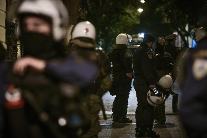 Aστυνομικές δυνάμεις στην οδό Αραχώβης- φωτογραφία Eurokinissi