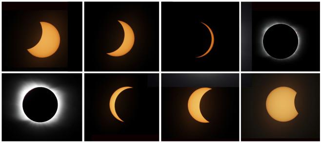 Οι φάσεις της σέληνης καθώς παρεμβαλλόταν μεταξύ Ηλίου και Γης - AP Photo/Natacha Pisarenko