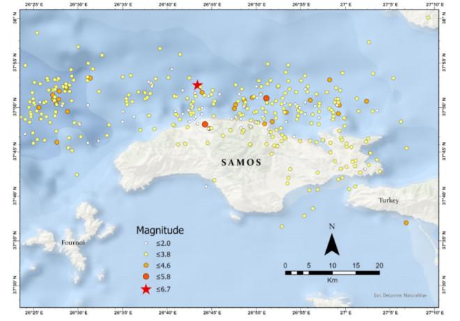 Ο χάρτης του σεισμού και των μετασεισμών στη Σάμο