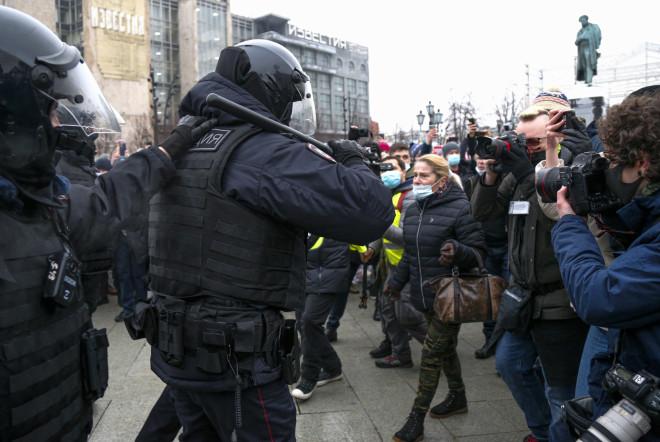 Στιγμιότυπο από τις διαδηλώσεις της 23ης Ιανουαρίου στη Μόσχα- φωτογραφία ΑΡ