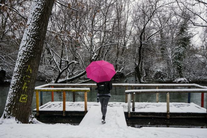 Χιονισμένο το τοπίο στη Δράμα- φωτογραφία Eurokinissi