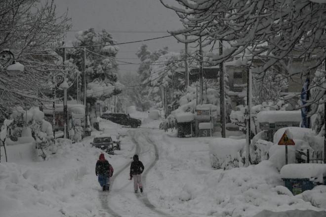 Χιονισμένοι δρόμοι στην Αττική