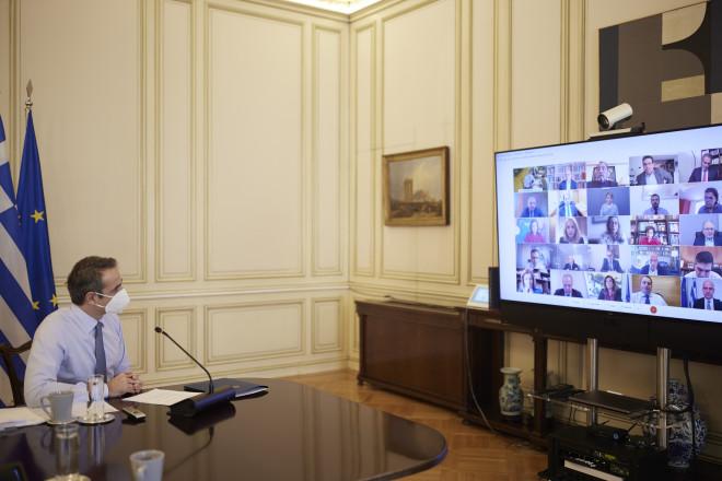 Ο Κυριάκος Μητσοτάκης, κατά τη σημερινή συνεδρίαση της ΚΟ της ΝΔ που έγινε μέσω τηλεδιάσκεψης- φωτογραφία ΙΝΤΙΜΕ