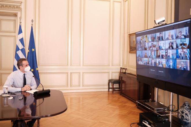 Yπουργικο μέσω τηλεδιάσκεψης Μητσοτάκης