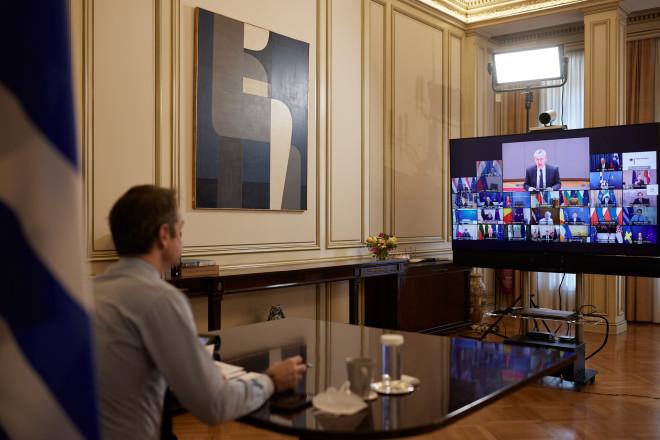 Μητσοτάκης Σε Τηλεδιάσκεψη Ηγετών Της ΕΕ